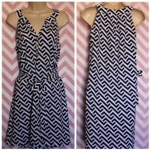 Blue and White Nautical Geometric Dress Size S NWT